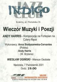 First performed Indigo Jazz Club Kraków, 2001
