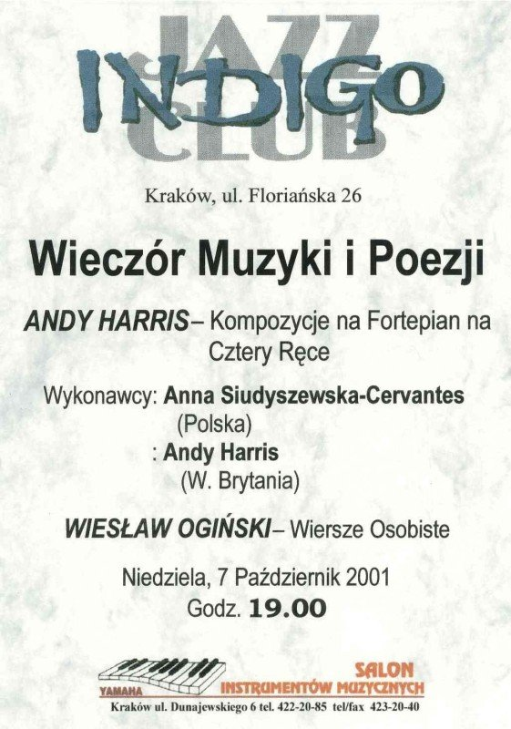 First performed Indigo Jazz Club Kraków, 2001